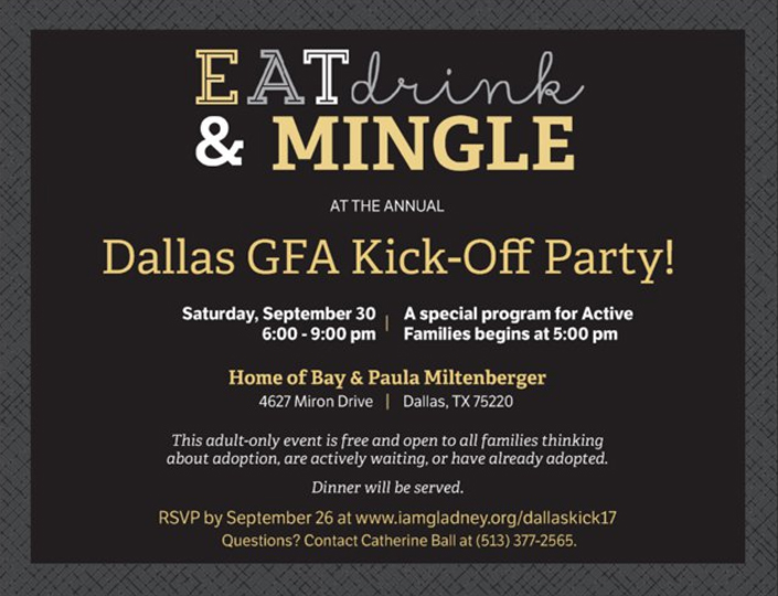 Dallas gfa kick off party iamgladney online registration has now closed but you are still welcome to join us contact catherine ball with questions at catherinecmyahoo stopboris Choice Image